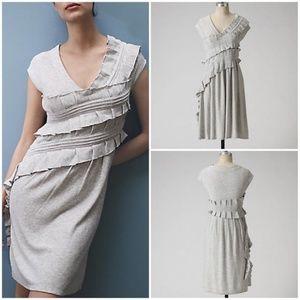 Anthropologie Whirling Ruffles Gray Wool Dress